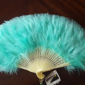 Folding Plastic Hand Fan with Feathers